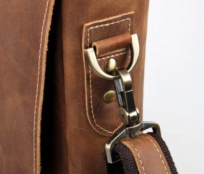 Vintage Leather Messenger Bag in Brown with Adjustable Shoulder Strap-Hardware