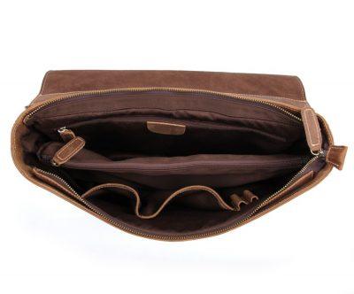 Vintage Leather Messenger Bag in Brown with Adjustable Shoulder Strap-Inside