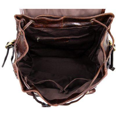 Vintage Leather Travel Backpack For Men-Inside