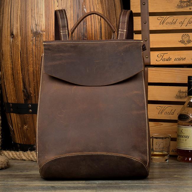 leather backpack laptop bag