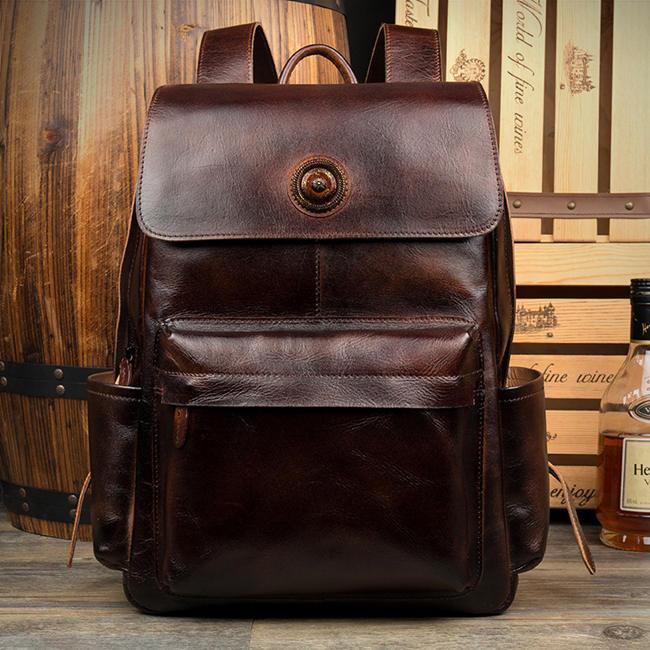shoulders leather laptop bag