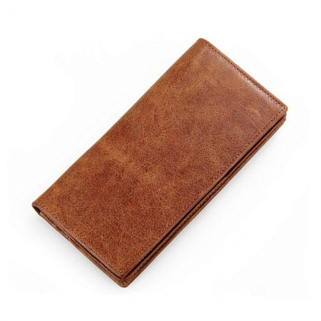 Brown Fashion Genuine Leather Long Wallet