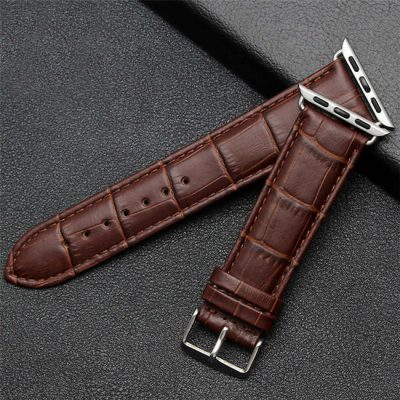 Brown alligator leather apple watch bands