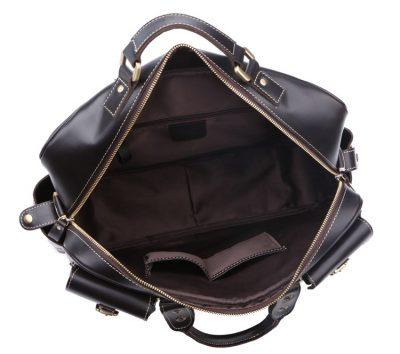 Handmade Leather Briefcase, Leather Travel Bag, Weekend Bag-Inside