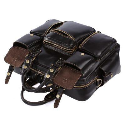 Handmade Leather Briefcase, Leather Travel Bag, Weekend Bag-Pockets