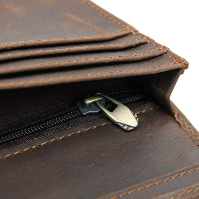 Mens Personalized Leather Wallet-Zipper
