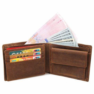Vintage Leather Wallet, Crazy Horse Leather Wallet-Inside