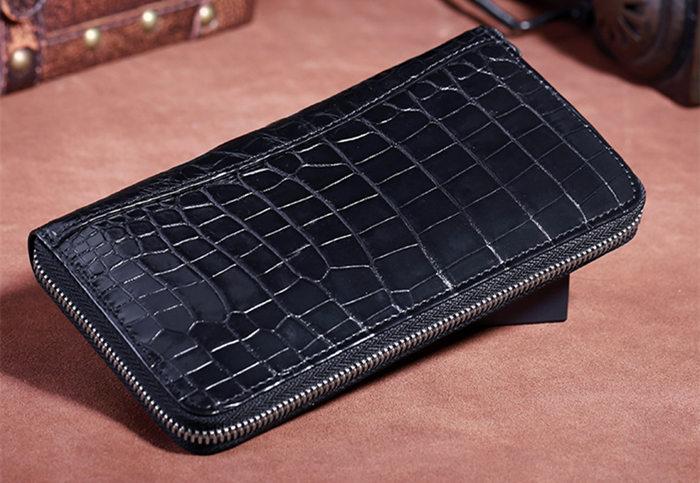 Black Long Crocodile Wallet