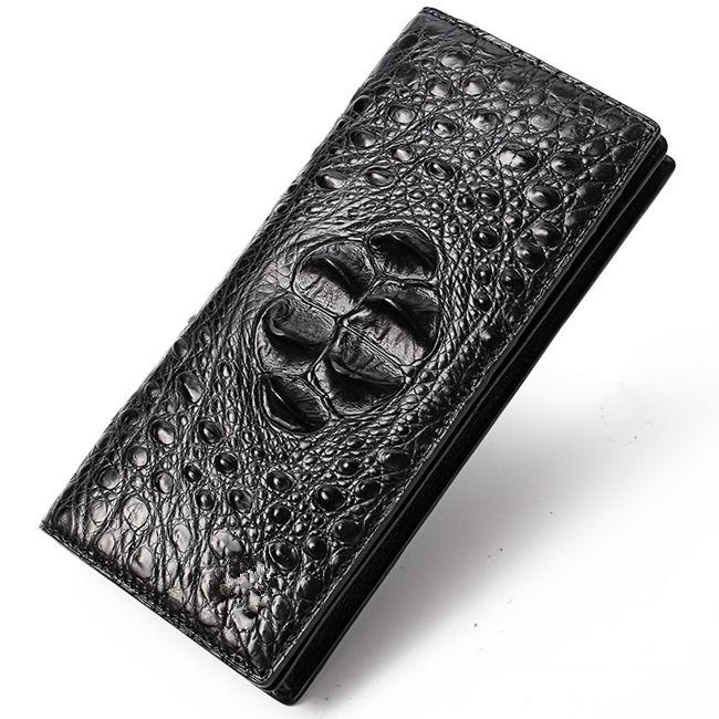 Long Black Crocodile Wallet