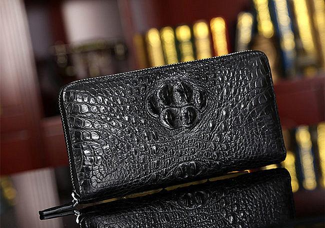 crocodile head leather wallet for men