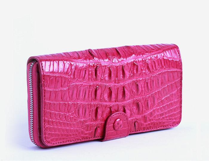 peach color crocodile wallet