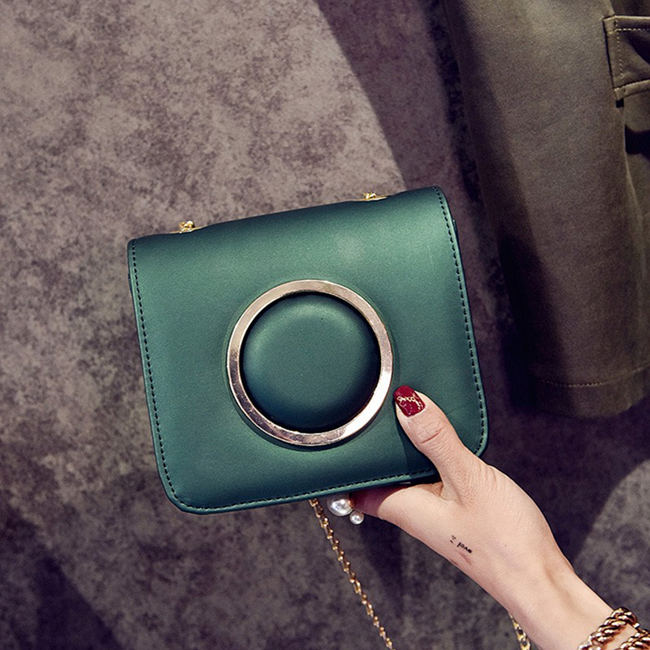 Green Concave Shape Clutch Bag