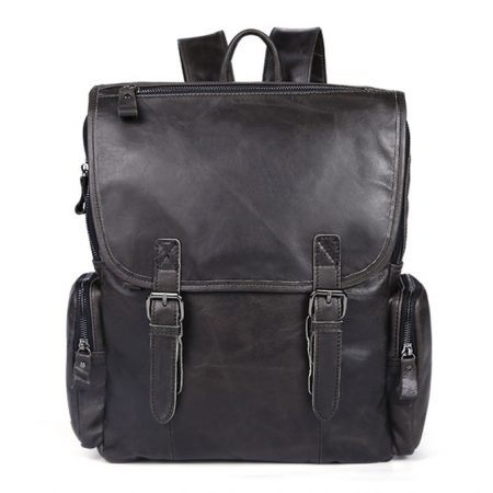 Black Casual Leather Backpack
