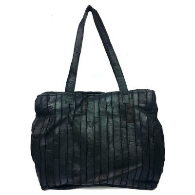 Black Mosaic Leather Handbag