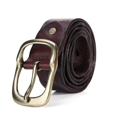 Handmade Dark Brown Mens Leather Belt