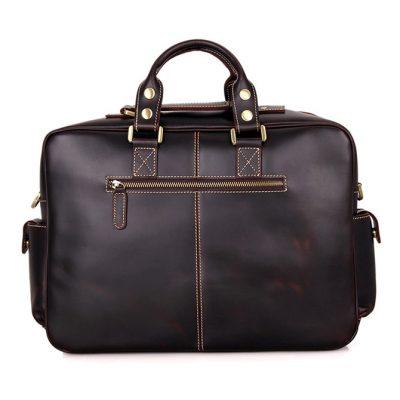 Brucegao casual leather briefcases-Back