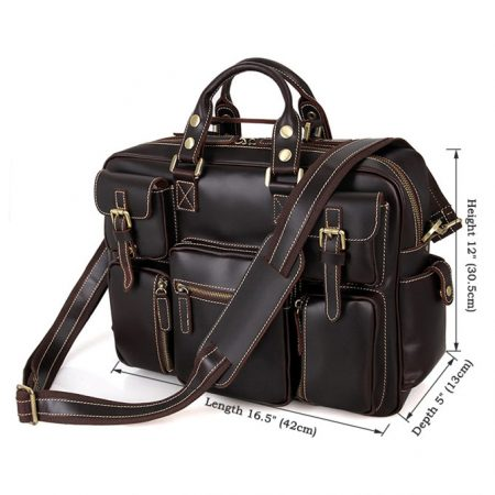 Brucegao casual leather briefcases-Size