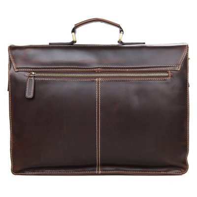 usiness Leather Messenger Bag-Back