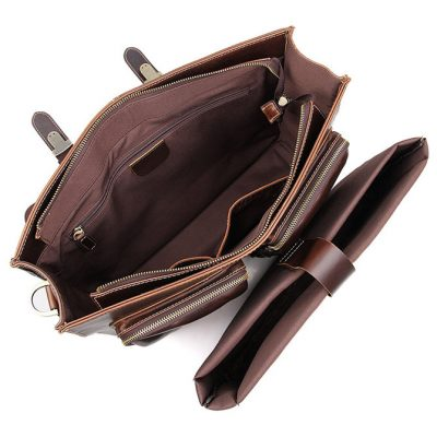 Business Leather Messenger Bag-Inside