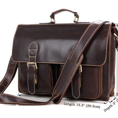 Business Leather Messenger Bag-Size