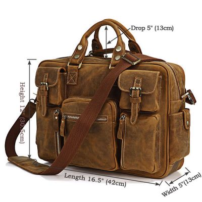 Casual-leather-briefcases-Brown-color-Size