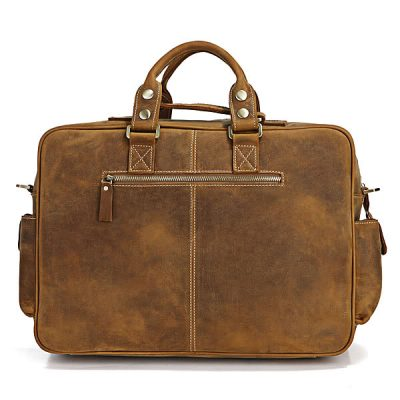 Casual-leather-briefcases-Brown-color-Back