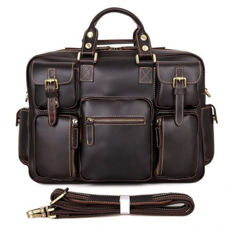 Casual leather briefcases-Chocolate color