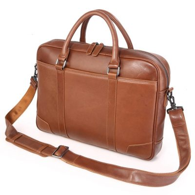 Classic Business Leather Briefcase-Side