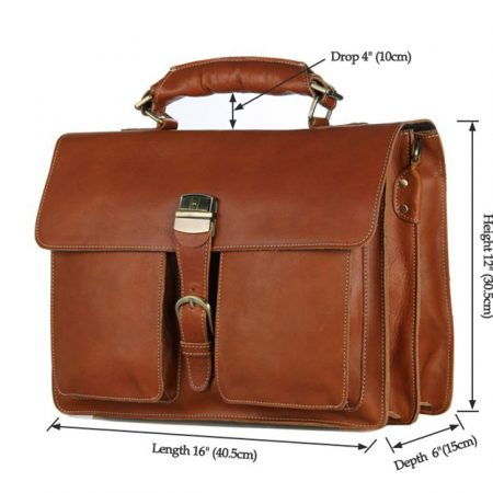 Classic Leather Briefcase-Size