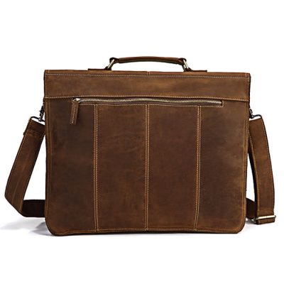 Classic Leather Messenger Bag-Back
