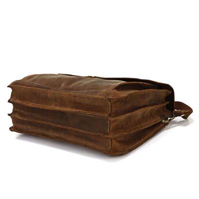 Classic Leather Messenger Bag-Bottom