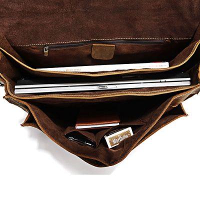 Classic Leather Messenger Bag-Inside