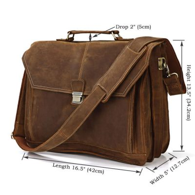 Classic Leather Messenger Bag-Size