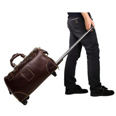 Classic Leather Travel Trolley Bag Weekend Bag