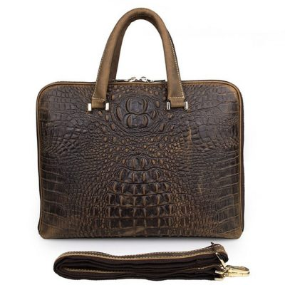 Crocodile Embossed Leather Bag / Laptop Bag