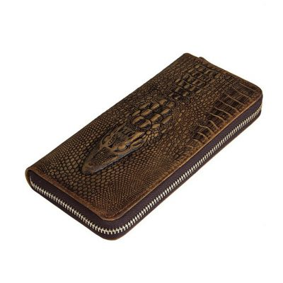Crocodile Pattern Leather Clutch Wallet