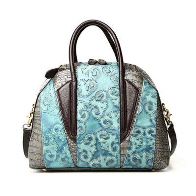 Green Shell Type Leather Handbag
