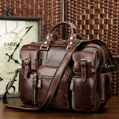 Handmade Casual Leather Briefcase Laptop Bag-Exhibition