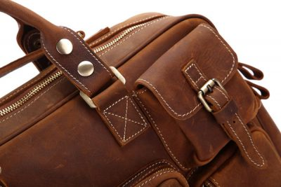 Handmade Vintage Leather Briefcase Travel Bag-Details