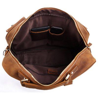 Handmade Vintage Leather Briefcase Travel Bag-Inside