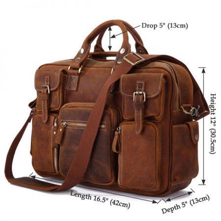 Handmade Vintage Leather Briefcase Travel Bag-Size