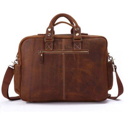 Handmade Vintage Leather Briefcase Travel Bag-Size-back