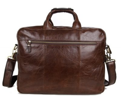 Leather Messenger Laptop Bag-Back
