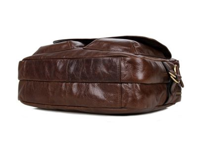 Leather Messenger Laptop Bag-Bottom