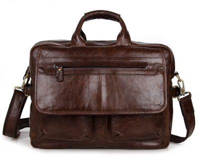 Leather Messenger Laptop Bag-Front