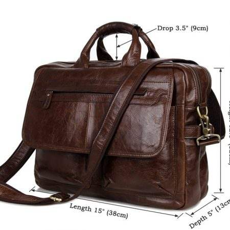 Leather Messenger Laptop Bag-Size