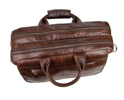 Leather Messenger Laptop Bag-Top