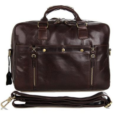 Leather Travel Briefcase, Large Leather Briefcase for Men