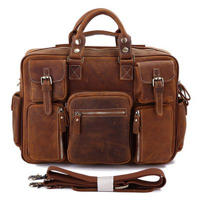 Men's casual leather briefcases-Red brown color