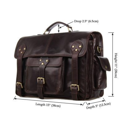 Noble Leather Messenger Bag-Size